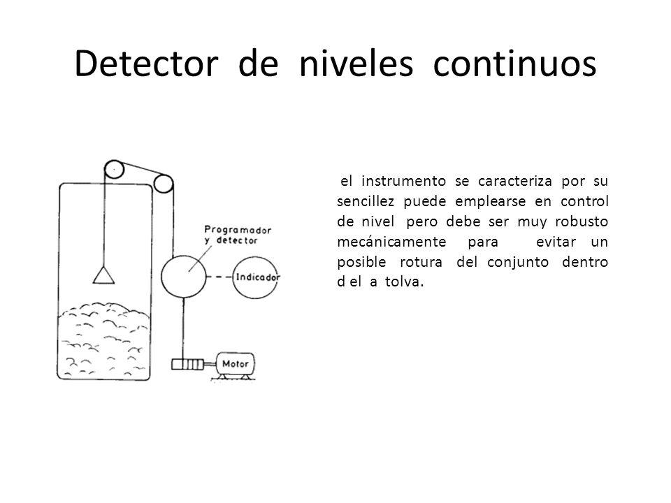 Detector de niveles continuos el instrumento se caracteriza por su sencillez puede emplearse en control de nivel pero debe ser muy robusto mecánicamen