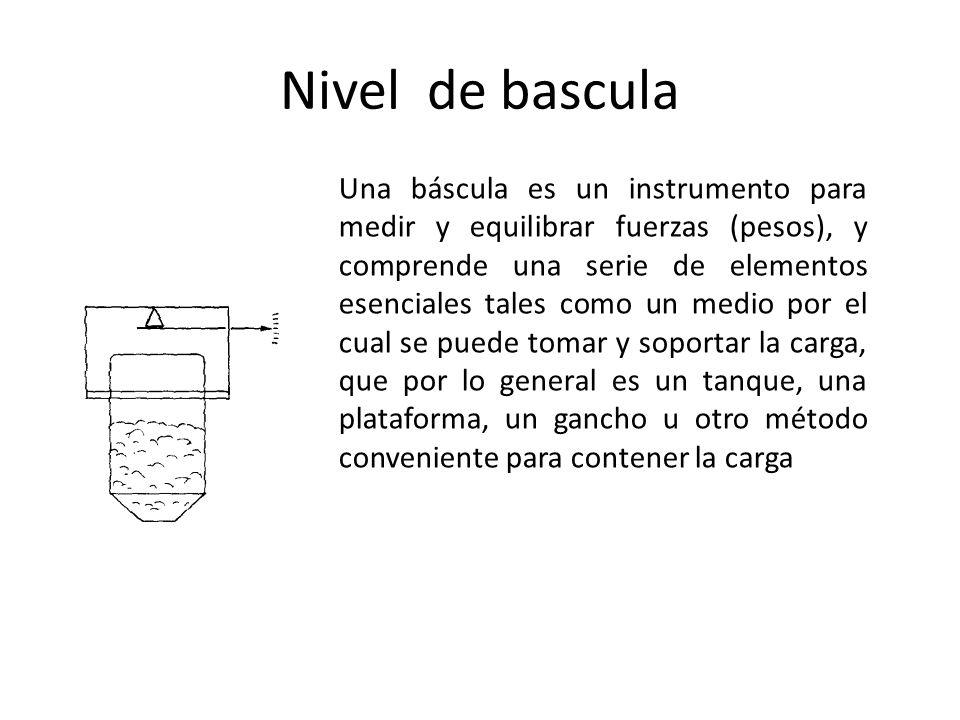 Nivel de bascula Una báscula es un instrumento para medir y equilibrar fuerzas (pesos), y comprende una serie de elementos esenciales tales como un me