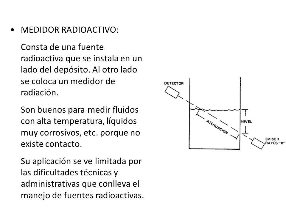 MEDIDOR RADIOACTIVO: Consta de una fuente radioactiva que se instala en un lado del depósito. Al otro lado se coloca un medidor de radiación. Son buen