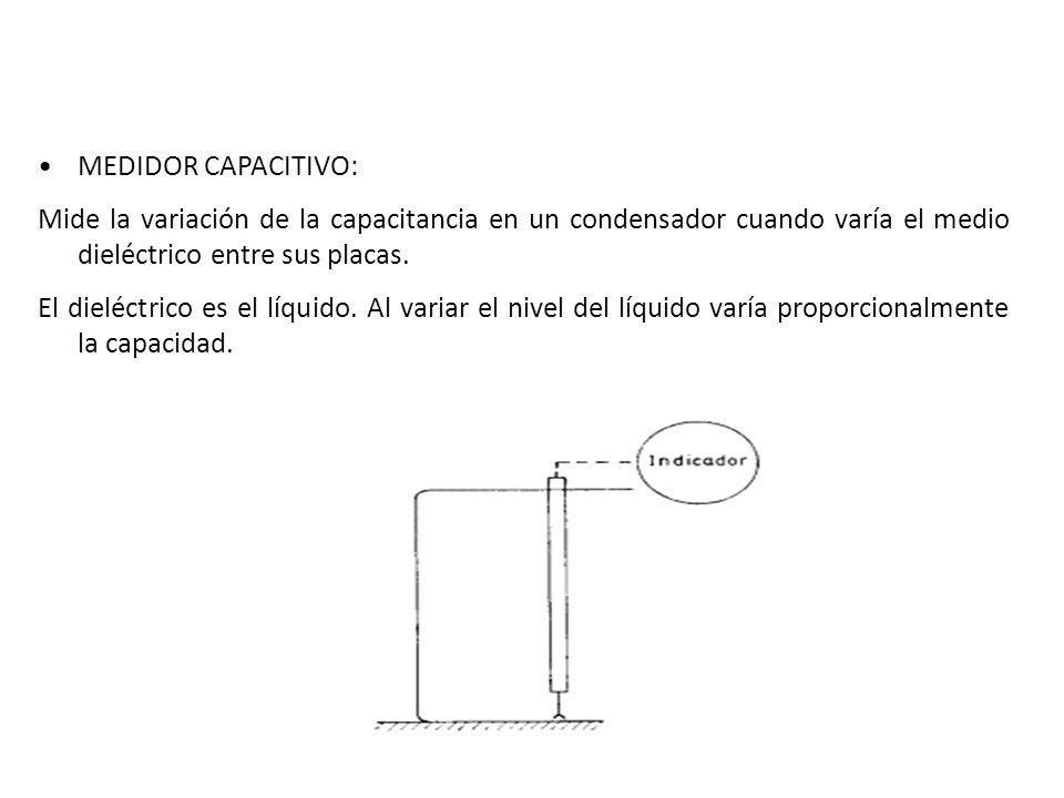 MEDIDOR CAPACITIVO: Mide la variación de la capacitancia en un condensador cuando varía el medio dieléctrico entre sus placas. El dieléctrico es el lí