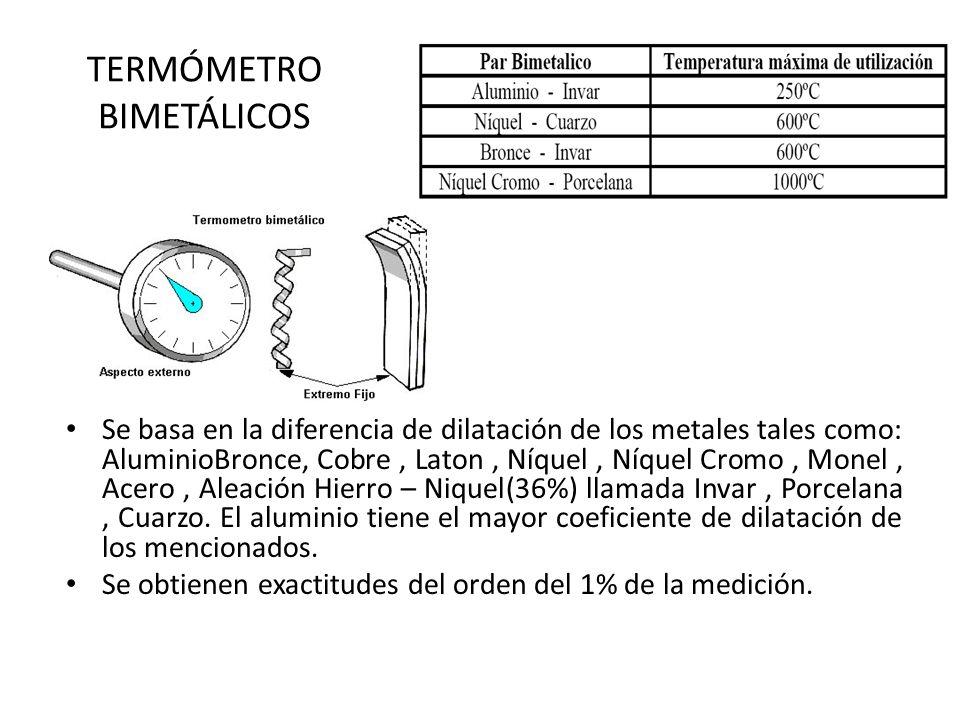 TERMÓMETRO BIMETÁLICOS Se basa en la diferencia de dilatación de los metales tales como: AluminioBronce, Cobre, Laton, Níquel, Níquel Cromo, Monel, Ac