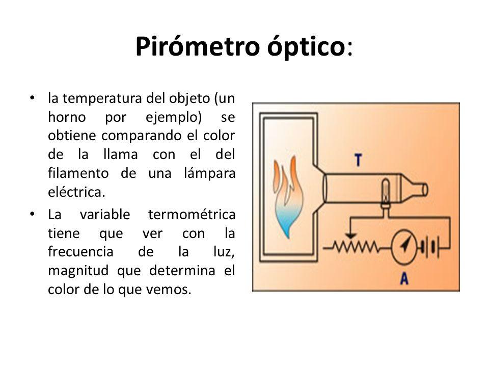 Pirómetro óptico: la temperatura del objeto (un horno por ejemplo) se obtiene comparando el color de la llama con el del filamento de una lámpara eléc