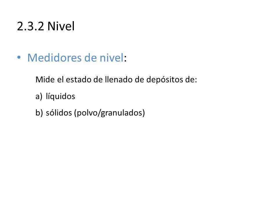 Mide el estado de llenado de depósitos de: a)líquidos b)sólidos (polvo/granulados) 2.3.2 Nivel Medidores de nivel: