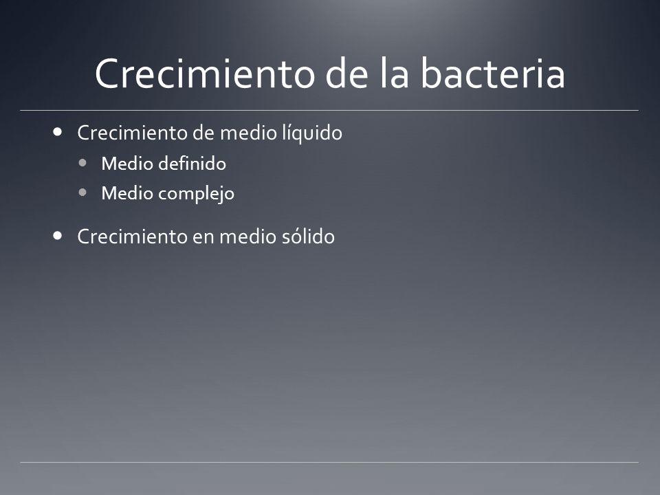 Crecimiento de la bacteria Crecimiento de medio líquido Medio definido Medio complejo Crecimiento en medio sólido