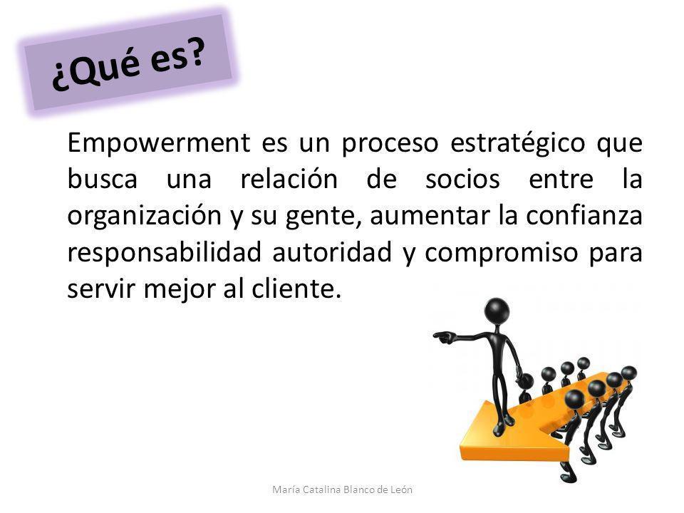 ¿Qué es? Empowerment es un proceso estratégico que busca una relación de socios entre la organización y su gente, aumentar la confianza responsabilida