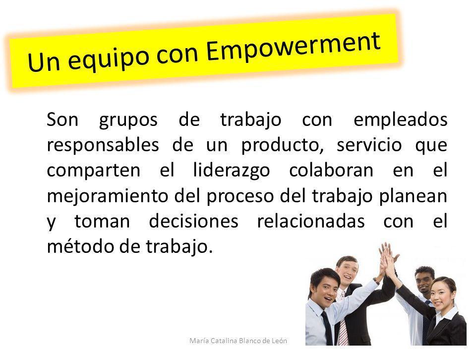 Un equipo con Empowerment Son grupos de trabajo con empleados responsables de un producto, servicio que comparten el liderazgo colaboran en el mejoram