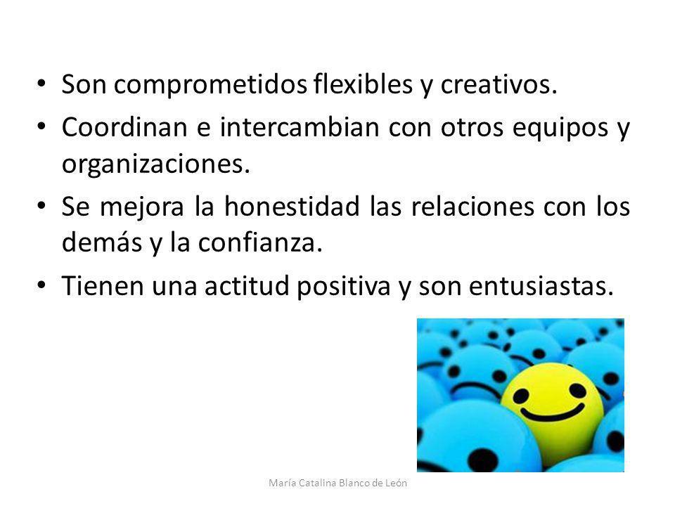 Son comprometidos flexibles y creativos. Coordinan e intercambian con otros equipos y organizaciones. Se mejora la honestidad las relaciones con los d