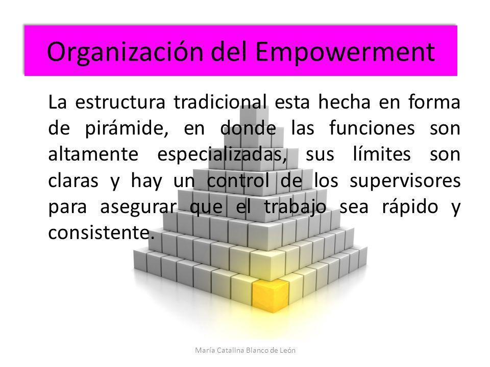 Organización del Empowerment La estructura tradicional esta hecha en forma de pirámide, en donde las funciones son altamente especializadas, sus límit