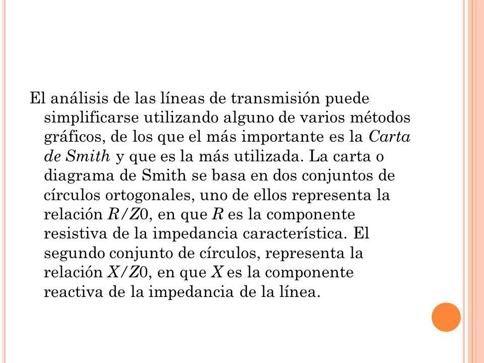 El análisis de las líneas de transmisión puede simplificarse utilizando alguno de varios métodos gráficos, de los que el más importante es la Carta de Smith y que es la más utilizada.