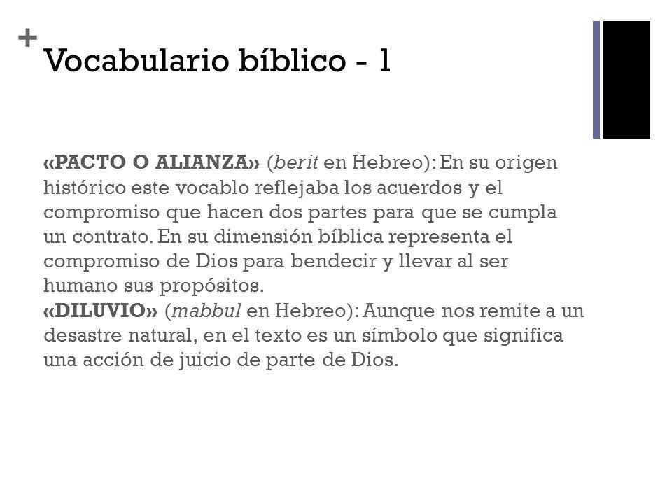 + Vocabulario bíblico - 1 «PACTO O ALIANZA» (berit en Hebreo): En su origen histórico este vocablo reflejaba los acuerdos y el compromiso que hacen do
