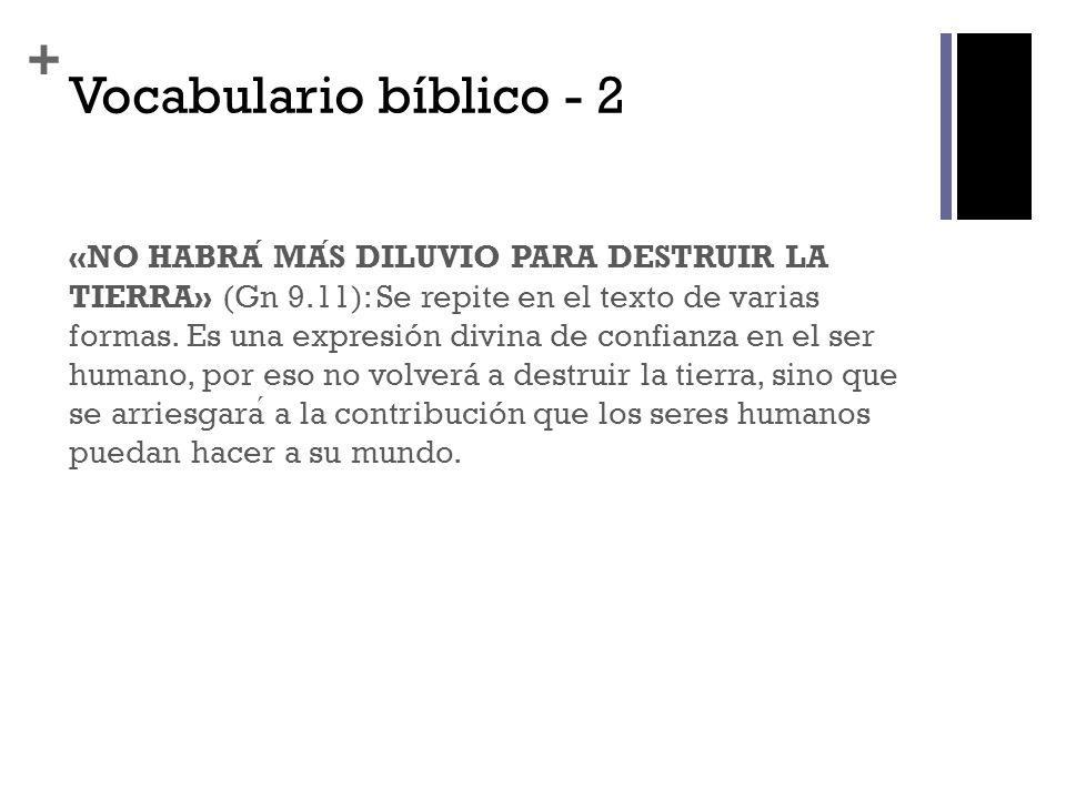 + Vocabulario bíblico - 2 «NO HABRA MAS DILUVIO PARA DESTRUIR LA TIERRA» (Gn 9.11): Se repite en el texto de varias formas. Es una expresión divina de