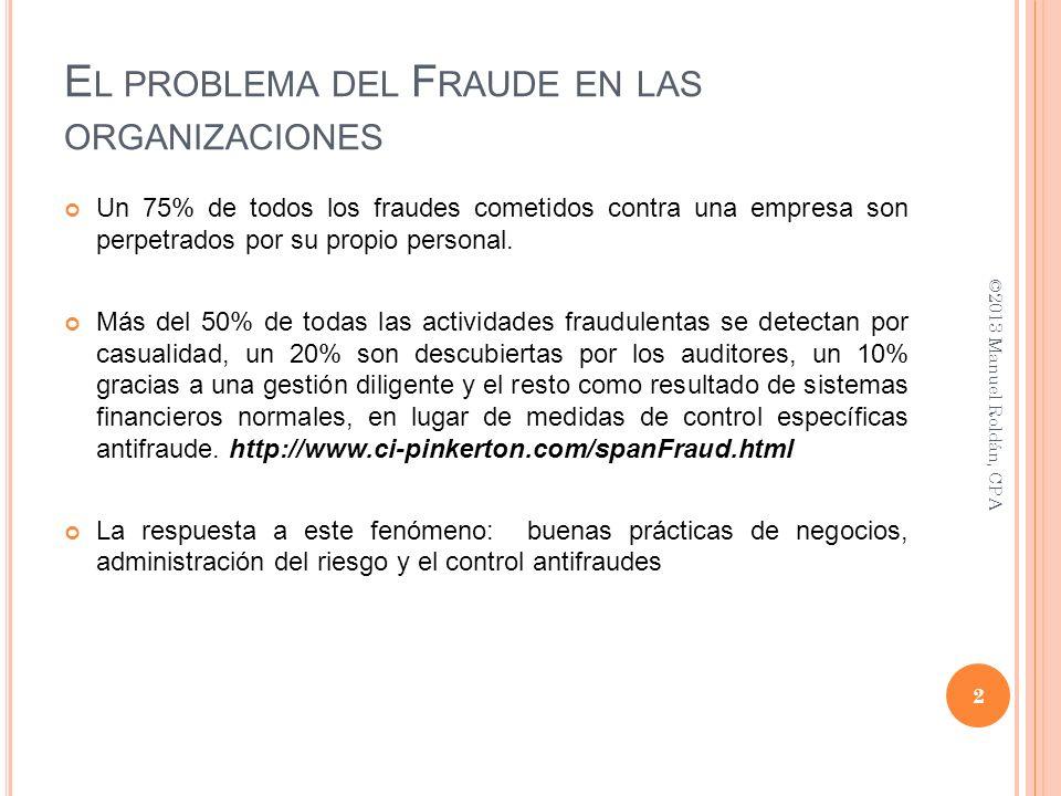 E L PROBLEMA DEL F RAUDE EN LAS ORGANIZACIONES Un 75% de todos los fraudes cometidos contra una empresa son perpetrados por su propio personal. Más de