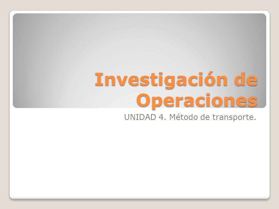 Investigación de Operaciones UNIDAD 4. Método de transporte.