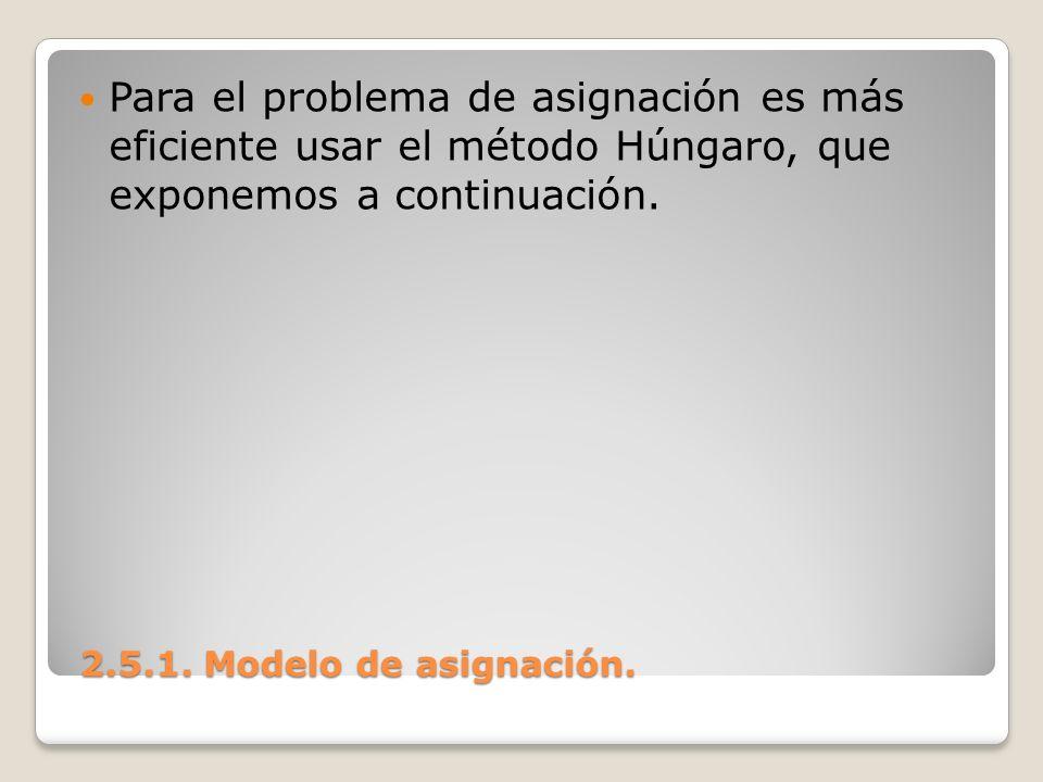 2.5.1. Modelo de asignación. 2.5.1. Modelo de asignación. Para el problema de asignación es más eficiente usar el método Húngaro, que exponemos a cont