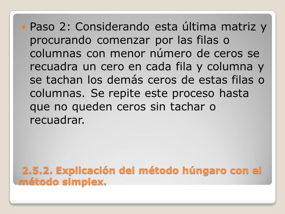 2.5.2. Explicación del método húngaro con el método simplex. 2.5.2. Explicación del método húngaro con el método simplex. Paso 2: Considerando esta úl