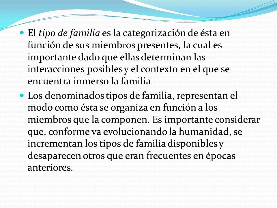 El tipo de familia es la categorización de ésta en función de sus miembros presentes, la cual es importante dado que ellas determinan las interacciones posibles y el contexto en el que se encuentra inmerso la familia Los denominados tipos de familia, representan el modo como ésta se organiza en función a los miembros que la componen.