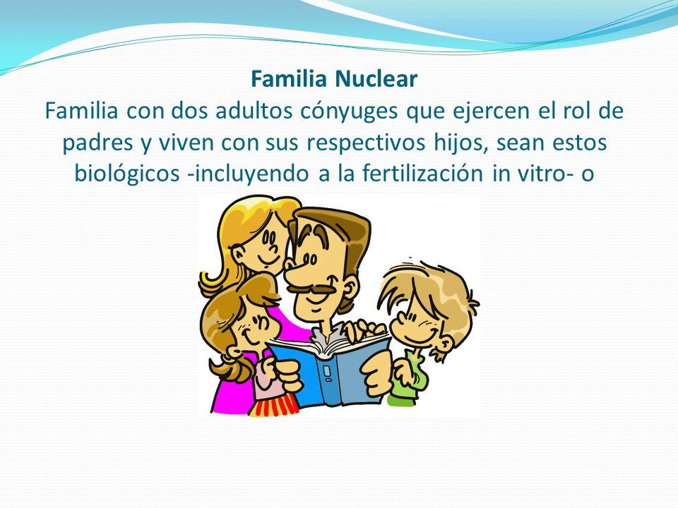Familia Nuclear Familia con dos adultos cónyuges que ejercen el rol de padres y viven con sus respectivos hijos, sean estos biológicos -incluyendo a la fertilización in vitro- o adoptivos.