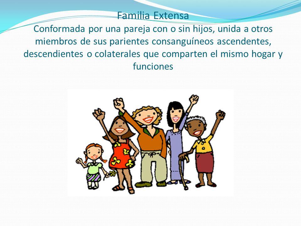 Familia Extensa Conformada por una pareja con o sin hijos, unida a otros miembros de sus parientes consanguíneos ascendentes, descendientes o colaterales que comparten el mismo hogar y funciones