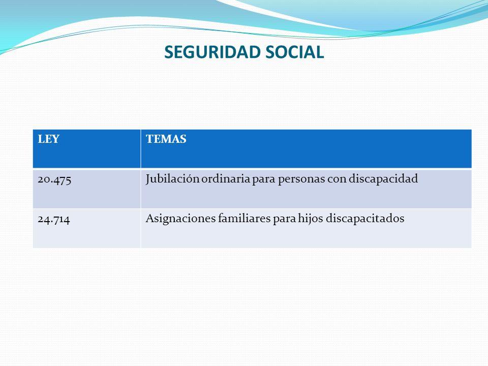 SEGURIDAD SOCIAL LEYTEMAS 20.475Jubilación ordinaria para personas con discapacidad 24.714Asignaciones familiares para hijos discapacitados