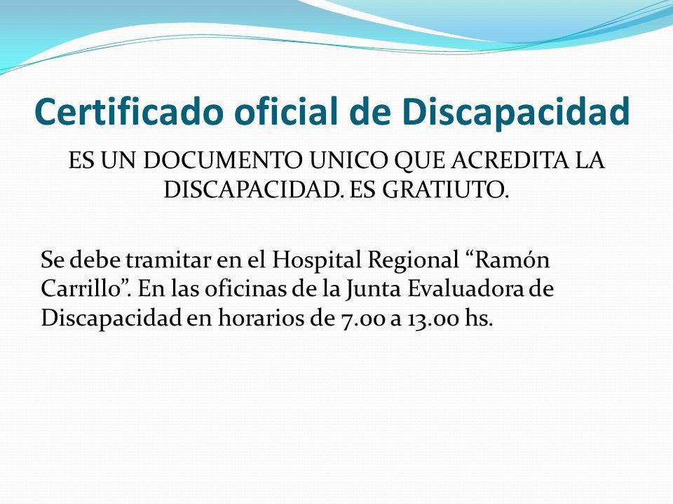 Certificado oficial de Discapacidad ES UN DOCUMENTO UNICO QUE ACREDITA LA DISCAPACIDAD.