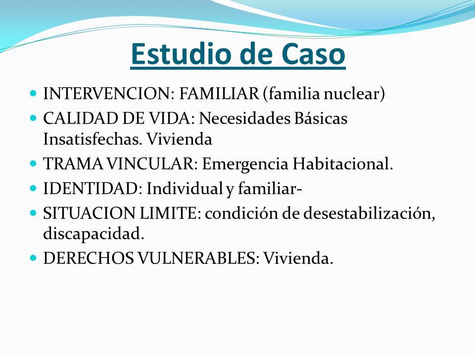 Estudio de Caso INTERVENCION: FAMILIAR (familia nuclear) CALIDAD DE VIDA: Necesidades Básicas Insatisfechas.