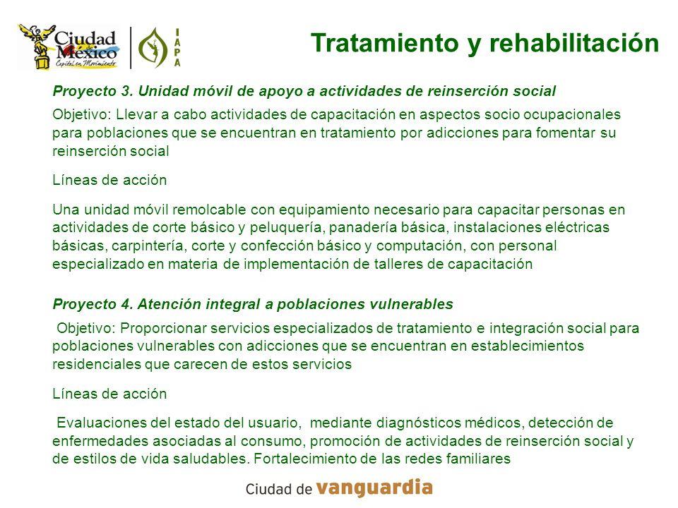 Proyecto 3. Unidad móvil de apoyo a actividades de reinserción social Objetivo: Llevar a cabo actividades de capacitación en aspectos socio ocupaciona