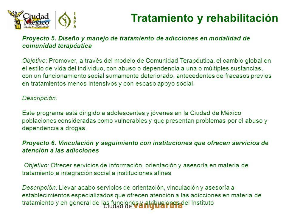 Proyecto 5. Diseño y manejo de tratamiento de adicciones en modalidad de comunidad terapéutica Objetivo: Promover, a través del modelo de Comunidad Te
