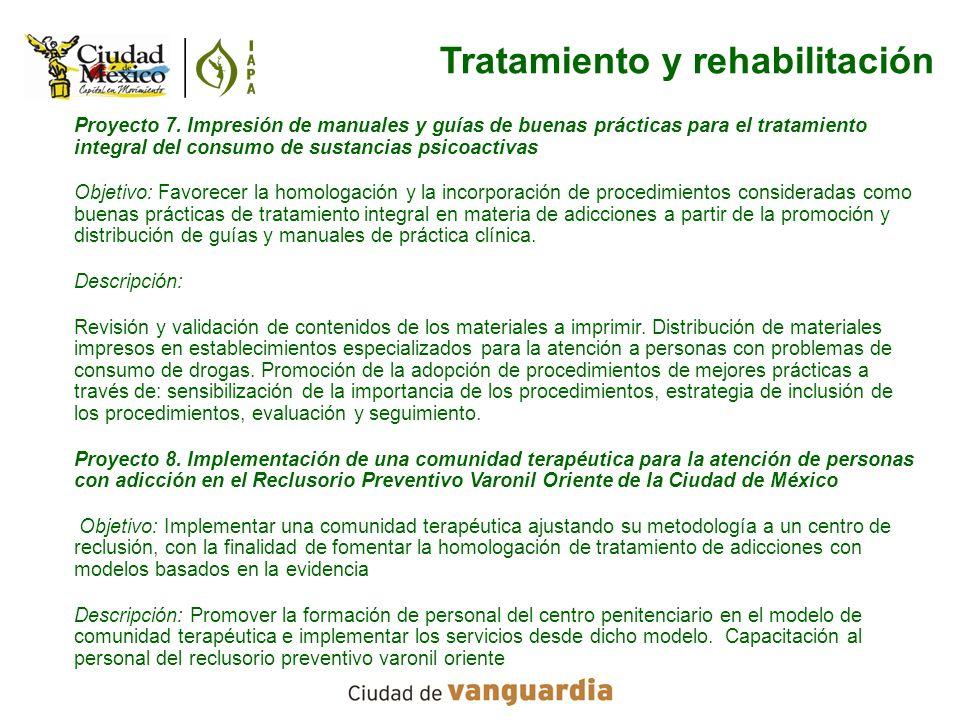 Proyecto 7. Impresión de manuales y guías de buenas prácticas para el tratamiento integral del consumo de sustancias psicoactivas Objetivo: Favorecer