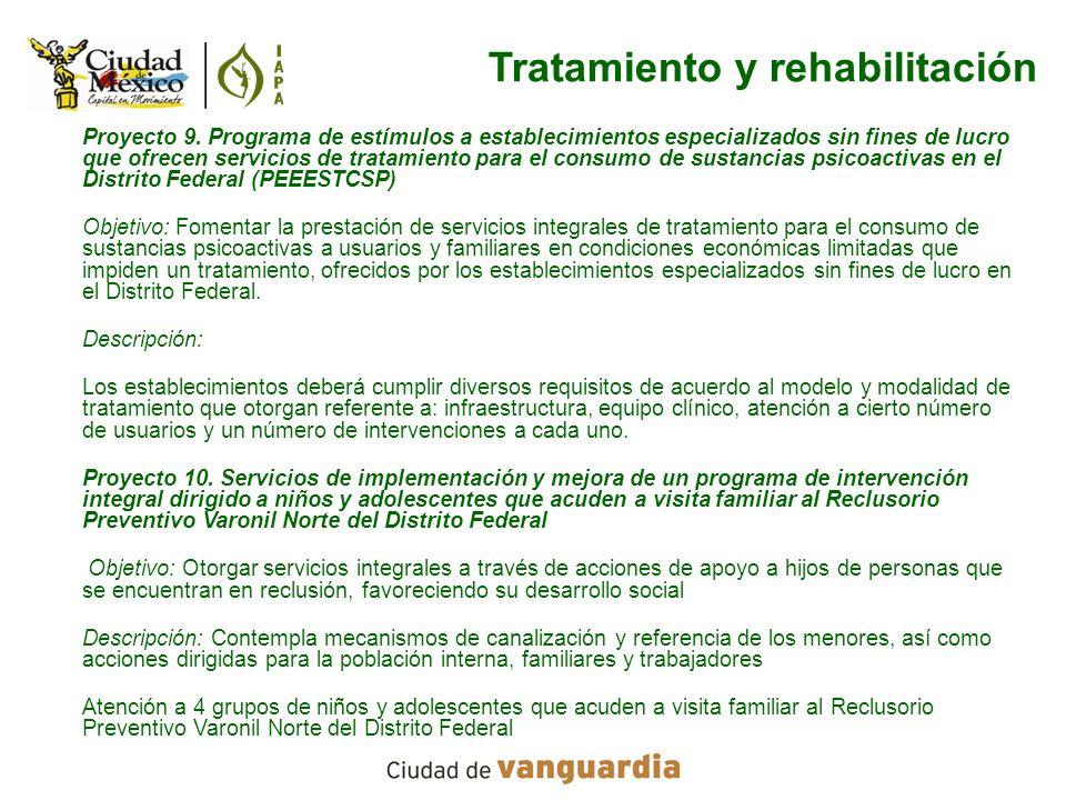 Proyecto 9. Programa de estímulos a establecimientos especializados sin fines de lucro que ofrecen servicios de tratamiento para el consumo de sustanc