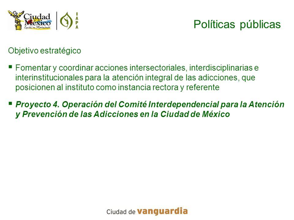 Políticas públicas Objetivo estratégico Fomentar y coordinar acciones intersectoriales, interdisciplinarias e interinstitucionales para la atención in