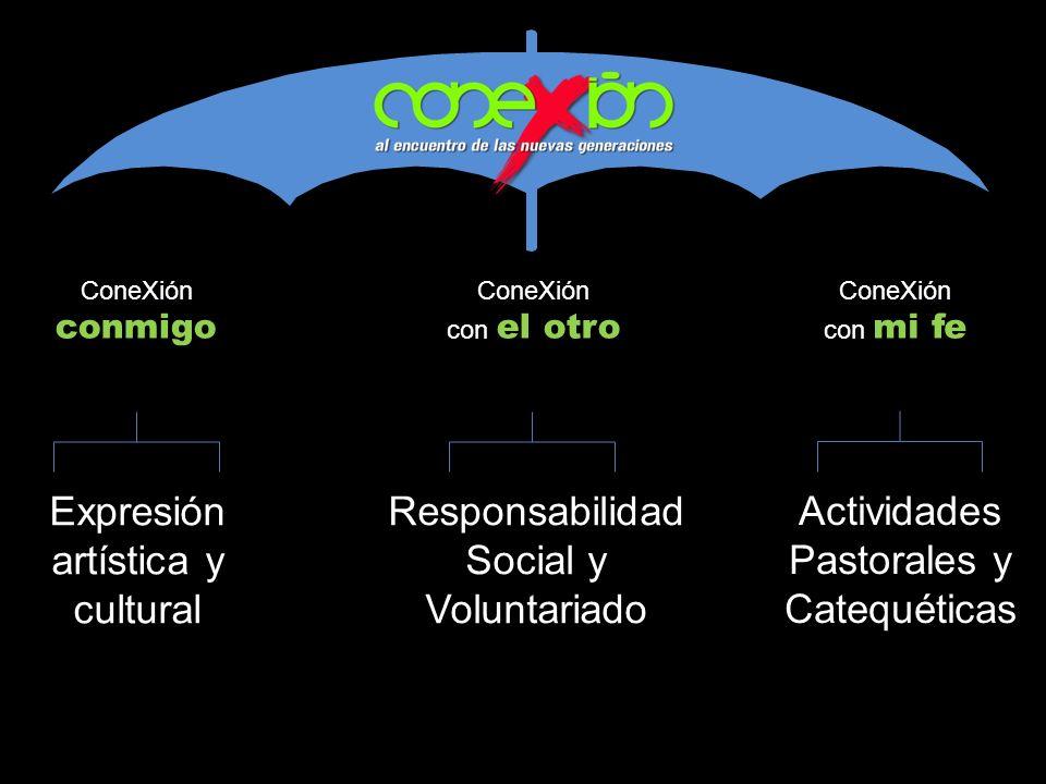 ConeXión conmigo ConeXión con el otro ConeXión con mi fe Expresión artística y cultural Responsabilidad Social y Voluntariado Actividades Pastorales y Catequéticas