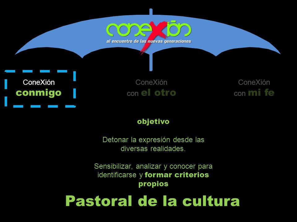 ConeXión conmigo ConeXión con el otro ConeXión con mi fe objetivo Detonar la expresión desde las diversas realidades.