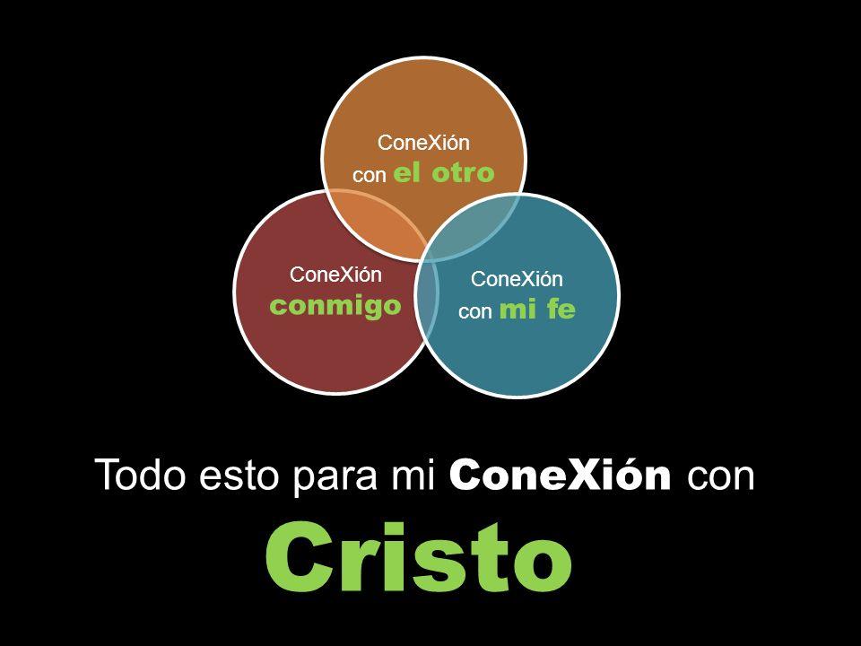 ConeXión conmigo ConeXión con el otro ConeXión con mi fe Todo esto para mi ConeXión con Cristo