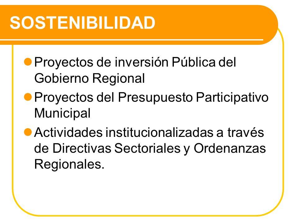 SOSTENIBILIDAD Proyectos de inversión Pública del Gobierno Regional Proyectos del Presupuesto Participativo Municipal Actividades institucionalizadas