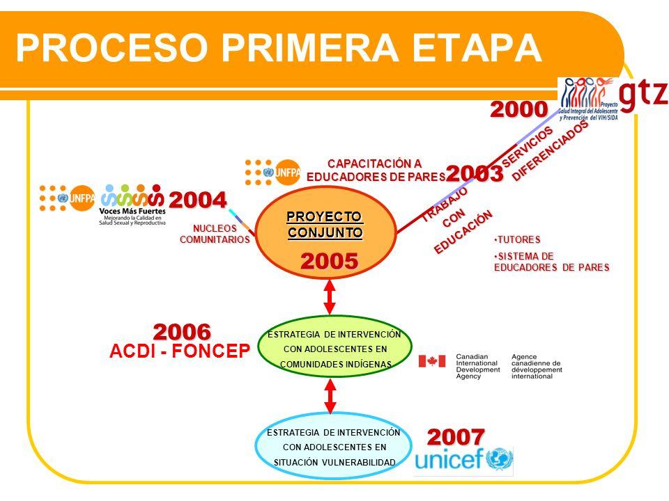 PROCESO PRIMERA ETAPA2003 CAPACITACIÓN A EDUCADORES DE PARES EDUCADORES DE PARES 2004 NUCLEOS COMUNITARIOS TRABAJOCONEDUCACIÓN TUTORESTUTORES SISTEMA