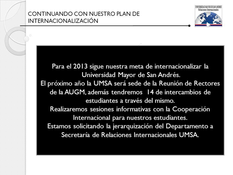 CONTINUANDO CON NUESTRO PLAN DE INTERNACIONALIZACIÓN Para el 2013 sigue nuestra meta de internacionalizar la Universidad Mayor de San Andrés. El próxi
