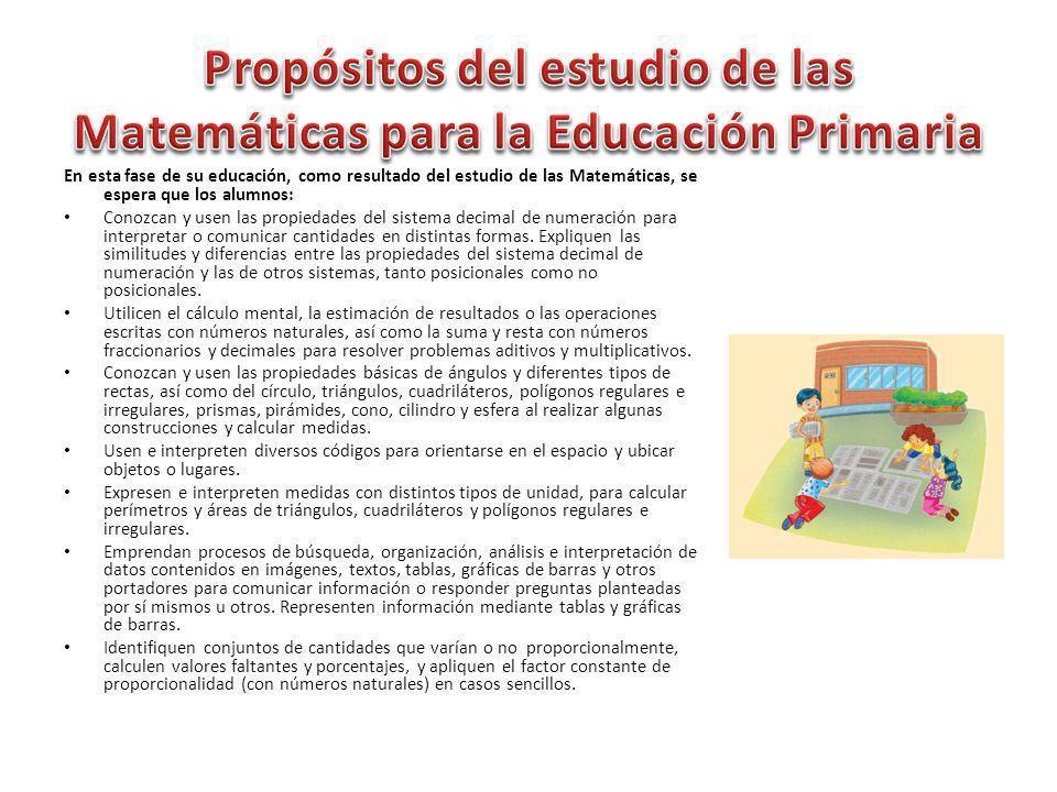En esta fase de su educación, como resultado del estudio de las Matemáticas, se espera que los alumnos: Conozcan y usen las propiedades del sistema de
