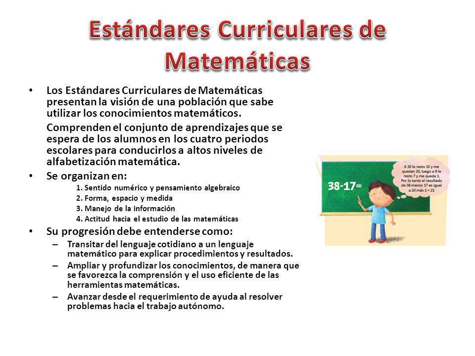 Los Estándares Curriculares de Matemáticas presentan la visión de una población que sabe utilizar los conocimientos matemáticos. Comprenden el conjunt
