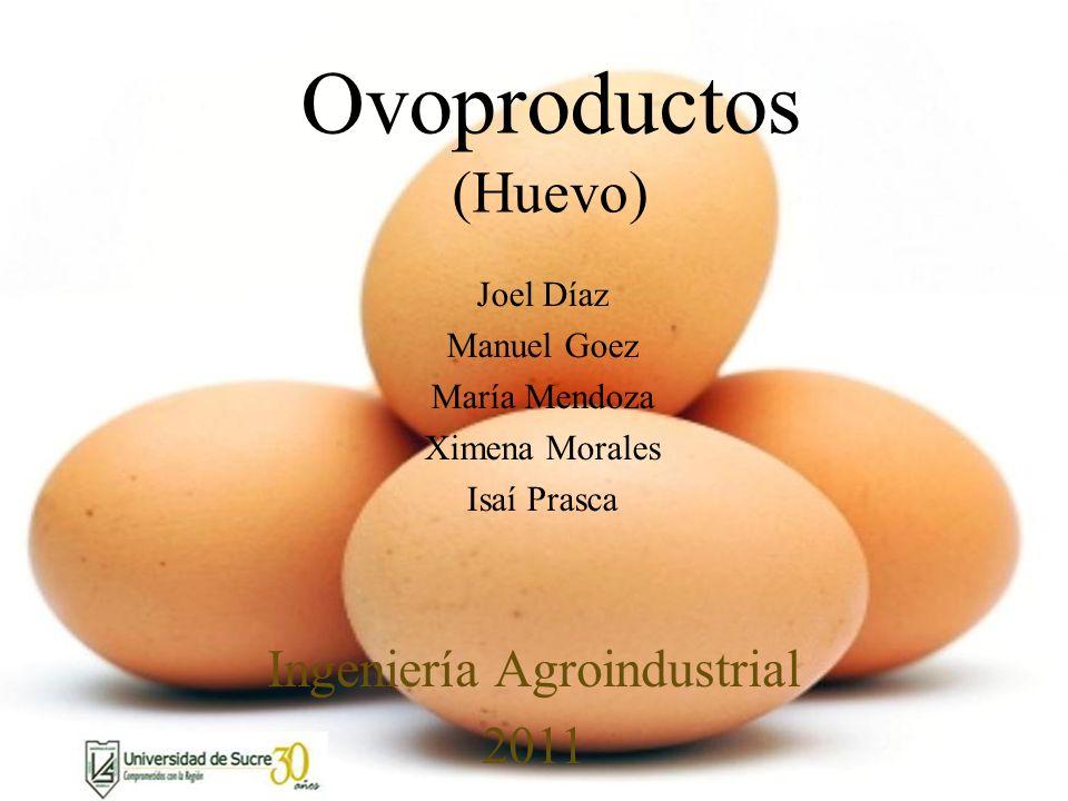 Ovoproductos (Huevo) Joel Díaz Manuel Goez María Mendoza Ximena Morales Isaí Prasca Ingeniería Agroindustrial 2011
