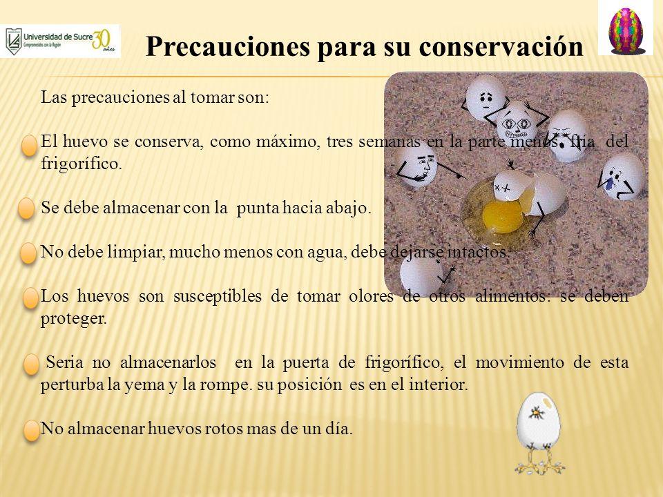 Precauciones para su conservación Las precauciones al tomar son: El huevo se conserva, como máximo, tres semanas en la parte menos fría del frigorífic