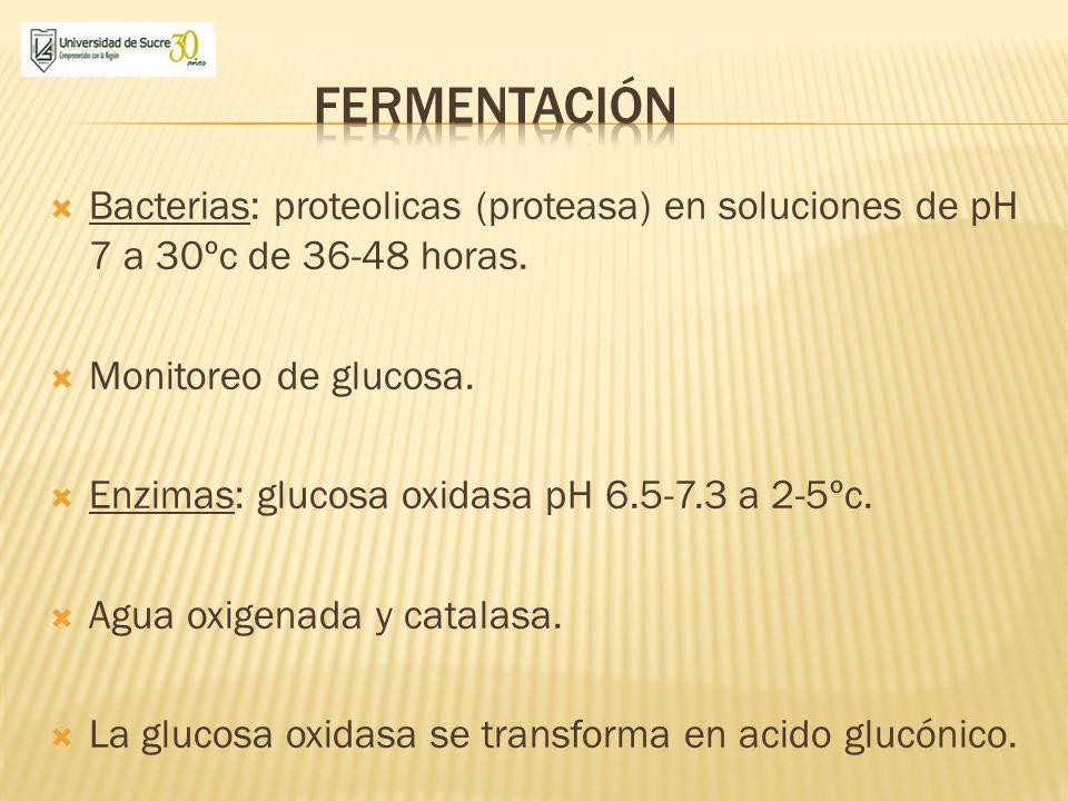 Bacterias: proteolicas (proteasa) en soluciones de pH 7 a 30ºc de 36-48 horas. Monitoreo de glucosa. Enzimas: glucosa oxidasa pH 6.5-7.3 a 2-5ºc. Agua