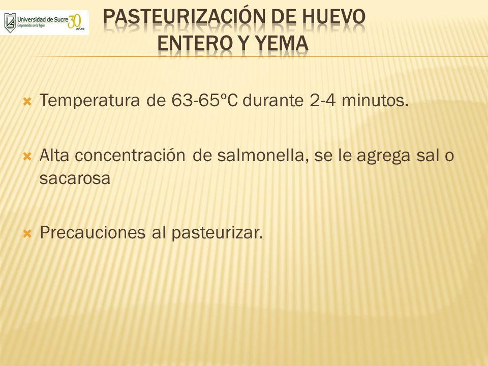 Temperatura de 63-65ºC durante 2-4 minutos. Alta concentración de salmonella, se le agrega sal o sacarosa Precauciones al pasteurizar.