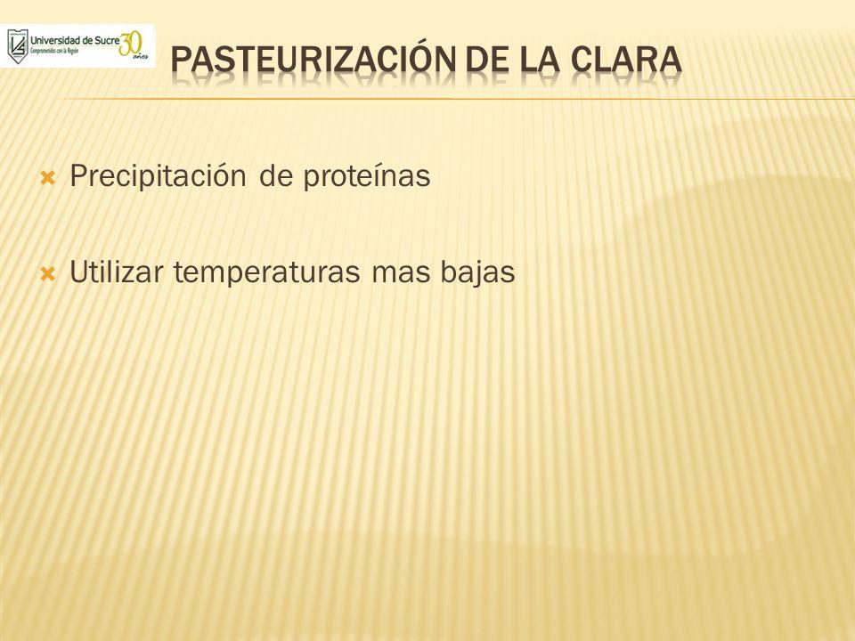 Precipitación de proteínas Utilizar temperaturas mas bajas