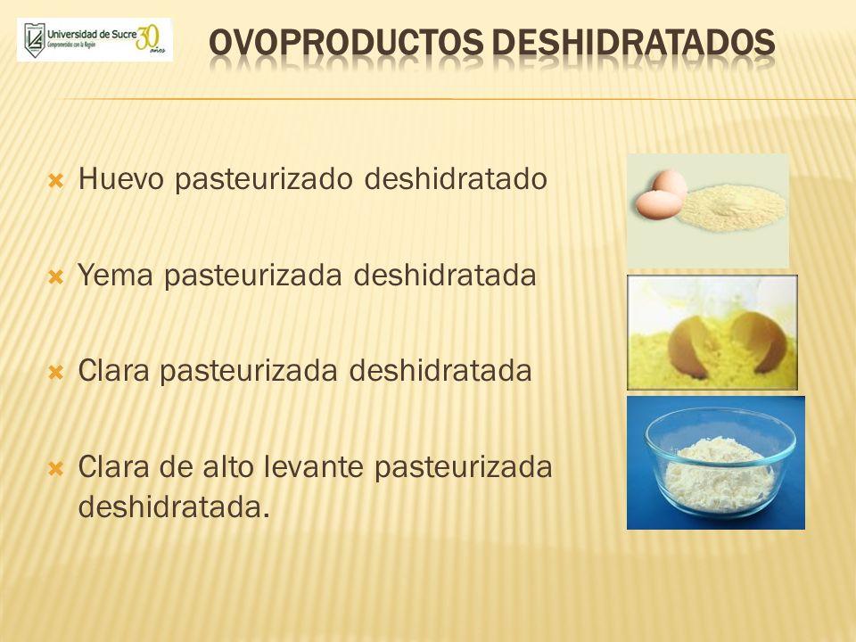 Huevo pasteurizado deshidratado Yema pasteurizada deshidratada Clara pasteurizada deshidratada Clara de alto levante pasteurizada deshidratada.