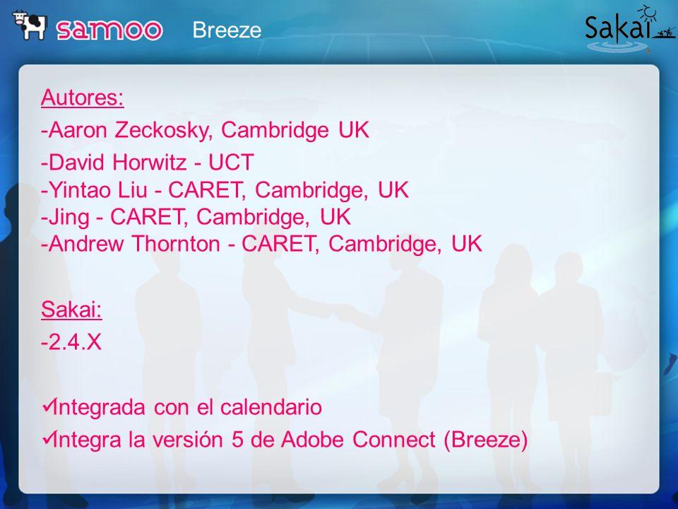 Breeze Autores: -Aaron Zeckosky, Cambridge UK -David Horwitz - UCT -Yintao Liu - CARET, Cambridge, UK -Jing - CARET, Cambridge, UK -Andrew Thornton -
