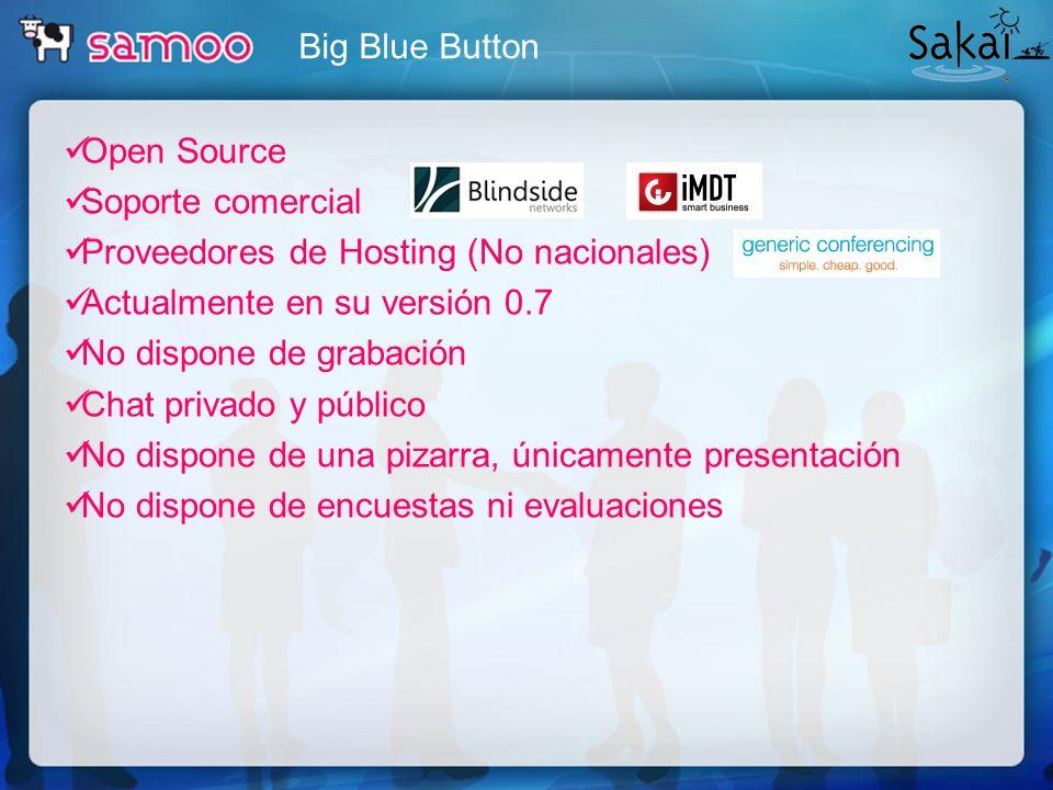 Open Source Soporte comercial Proveedores de Hosting (No nacionales) Actualmente en su versión 0.7 No dispone de grabación Chat privado y público No d