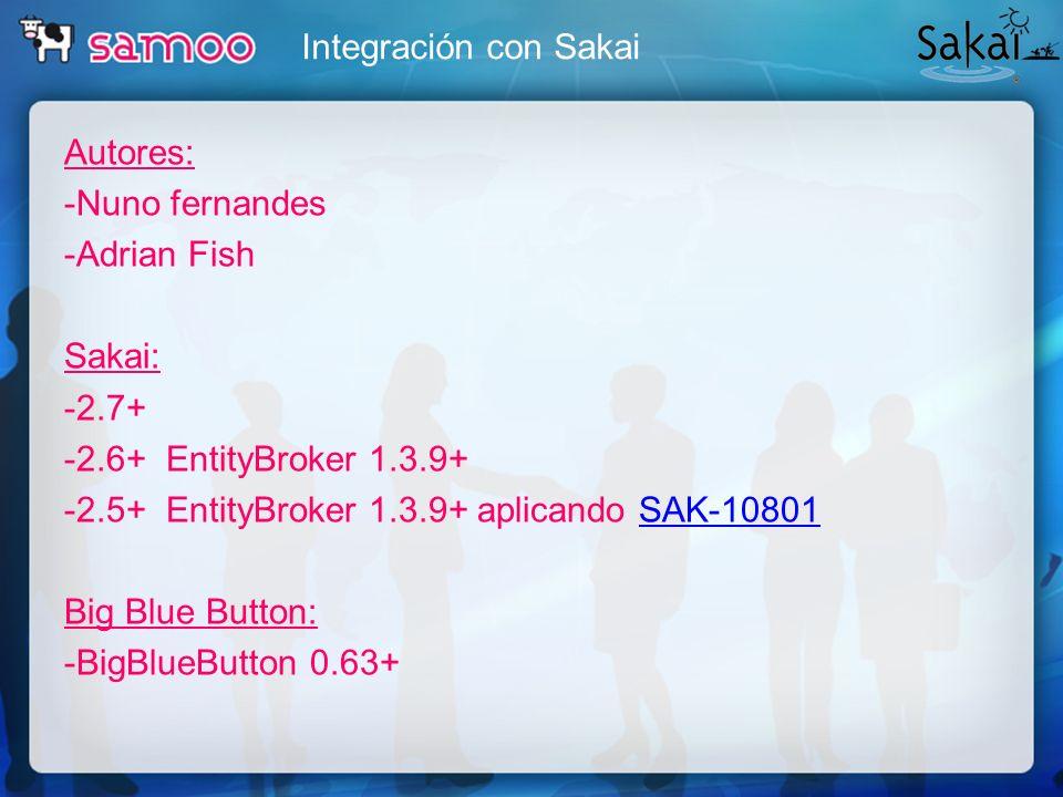 Integración con Sakai Autores: -Nuno fernandes -Adrian Fish Sakai: -2.7+ -2.6+ EntityBroker 1.3.9+ -2.5+ EntityBroker 1.3.9+ aplicando SAK-10801SAK-10
