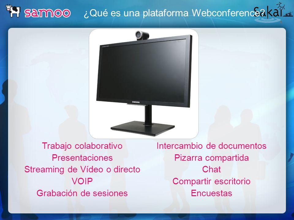 ¿Qué es una plataforma Webconference? Trabajo colaborativo Presentaciones Streaming de Vídeo o directo VOIP Grabación de sesiones Intercambio de docum