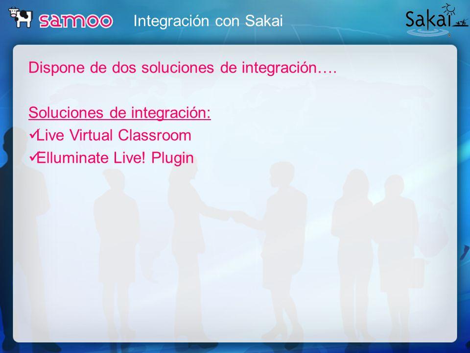 Integración con Sakai Dispone de dos soluciones de integración…. Soluciones de integración: Live Virtual Classroom Elluminate Live! Plugin