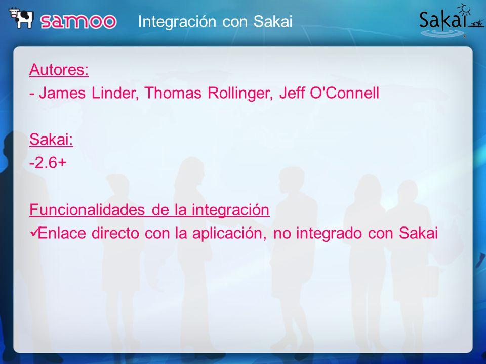 Integración con Sakai Autores: - James Linder, Thomas Rollinger, Jeff O'Connell Sakai: -2.6+ Funcionalidades de la integración Enlace directo con la a
